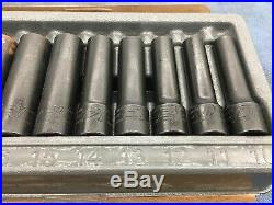 15pc Snap On 315SIMMYA 1/2 Dr Metric Deep Impact Socket Set 10-24mm $470 MSRP