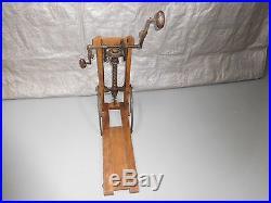19th Century Wood/Cast Iron Portable Drill Press Hand Crank Folding Adjustable