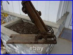 Antique Barn Beam post auger hand crank drill boring machine primitive