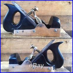 Antique EDWARD PRESTON EBONY Infill Smoothing PLANE Vintage Old Hand Tool #207