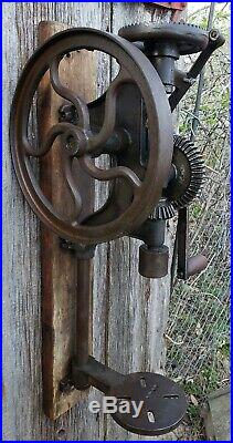Antique Hand & Pulley Driven Post Drill Press, Serviced and working. SEE VIDEO