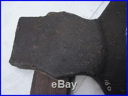 Antique Signed Blacksmith Hand Forged Broad Axe Wood Tool Medieval Iron