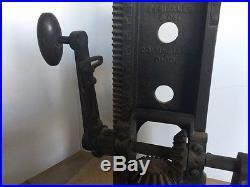 Antique Strickler & Co. Ohio Hand Crank Cast Iron Barn Beam Boring Drill Press