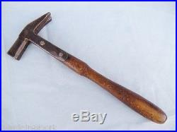 Antique Very Rare European Hand Made Blacksmith Hammer Tool Wrought Iron & Wood