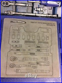 BLUE-POINT BLPGSSC155 1/4 & 3/8 DRIVE GENERAL SERVICE SOCKET SET Complete! Nice