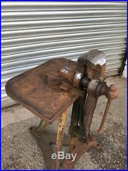 Blacksmiths Leg Vice on Stand Cast Iron Table