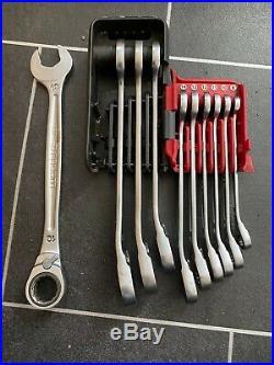 Facom 10 Piece Reversible Ratcheting Anti Slip Spanner Set 8-19mm