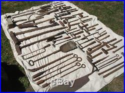 GIANT lot of ancient hand tools from Blacksmith Forge clearance, hammers, axe