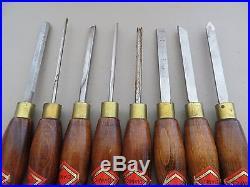 Henry Taylor tools limited Diamic woodturning lathe chisels set of 8 vintage
