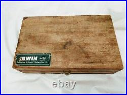 Irwin Bit Set of 13 Vintage Drill Auger Bits in Wood Case And Hand Drill