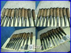 Japanese Used Chisel Nomi Set of 10 Carpentry Tool Japan Blade