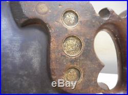 L1099- Vintage 26 Disston No 99 Split nut Hand Saw 1876 10pt 3 Medallion