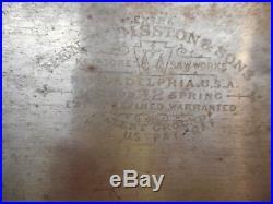 L2078- Vintage Disston & Sons No. 12 Rip Hand Saw Wood Tool 26 5 pt