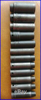 MAC Tools 1/2 Drive 12 Pc Deep Metric 6 Pt Impact Socket Set 10mm 24mm