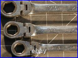 Mac 6Pc SAE Flex Head Ratcheting Wrench Set 5/16 7/16 11/16 6Pt 6 Point RWF