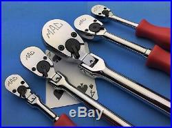 Mac Tools 1/4 3/8 1/2 Drive flex head hard handle Classic US Made Ratchet set