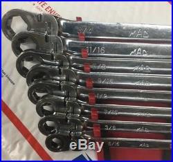 Mac Tools 5/16-3/4 8PC Open/Flex Ratcheting 6PT Wrench Set, Vintage