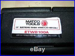 Matco 3/8 digital Electronic Torque Wrench ETWB100A 10-100FT-LBS