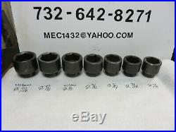 Proto Impact Sockets 1 Inch Drive 6 Pt Sae 29pcs Snap-on, Armstrong, Williams Nos