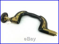Rare Antique Hand Brace Drill J Frost Norwich Brass Hardwood Old Hand Tools