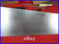 Rare Disston #9, 24 Panel Saw, 11 PPI Crosscut, Hand sharpened 1896-1917, 1259