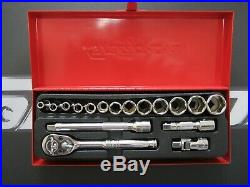 Rare Snap On 17 pc 1/4 Drive 6-point Metric Shallow General Service Socket Set