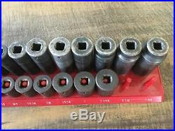 SK Tools 1/2 Drive SAE Impact Socket Set 26 Piece 3/8 1-1/4 Deep Short USA