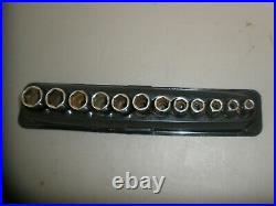 SNAP-ON 212FSMSY 12 pc 3/8 DRIVE 6pt METRIC FLANK SEMI-DEEP SOCKET SET (8-19mm)