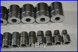SNAP ON 23pc 1/2 Drive Metric 6pt Flank Drive Shallow Socket Set (1032mm)