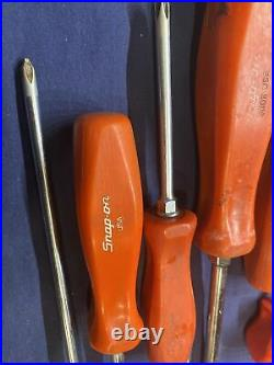SNAP ON Lot Of 14 RED Hard Handle Screwdrivers Pry Bar