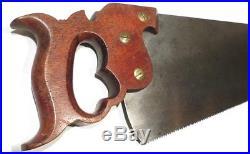 SPECTACULAR DISSTON 20 No. 12 PANEL CC SAW Freshly Hand Sharpened