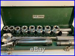 S-K SK 3/4 Drive Socket Set With Extensions, Ratchet, steel case 14 pc