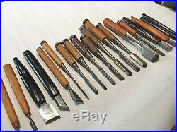 Set of 19Antique Japanese Woodworking Tools & Carving GougesChisels Hand Plane