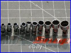 Snap On 10Pc SAE 1/4 Dr Swivel Universal Socket Set 3/16 9/16 12Pt TMU 12