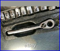 Snap On 112RTSM 1/4 6 Point Metric Low Profile Ratchet RAT72 Socket Set 5-13mm