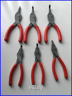 Snap On 12 Piece Retaining Ring Pliers And Case Convertible Very Nice Condition