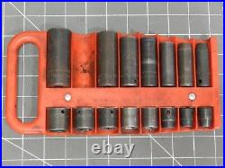 Snap On 17Pc 3/8 Dr SAE Shallow Deep Impact Socket Set 5/16 3/8 3/4 13/16 Tray