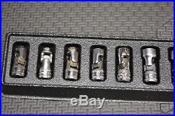 Snap On 1/4 Drive 11 Piece Chrome Metric Universal Swivel Socket Set 5mm 15mm