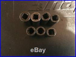 Snap On 212IMFMSYA 3/8 Dr. Metric Semi-Deep Impact Socket Set