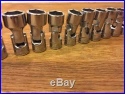 Snap On 3/8 Dr 6pt UNIVERSAL Socket Set 8-24mm 15pc MINT RARE