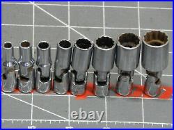 Snap On 8OF 10Pc SAE 1/4 Dr Deep Swivel Universal Socket Set 3/16 9/16 12Pt STMU