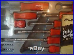 Snap On 8-piece Red Screwdriver Set With A Ratcheting Screwdriver