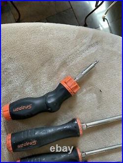 Snap On 8pc Orange Screwdriver Set, 1 Is Adjustable Ratcheting