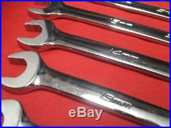 Snap On LONG Combination Wrench Set Flank Drive Plus Metric 10 Pieces SOEXLM710B