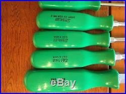 Snap On Tool 8 Piece Hard Plastic Green Handle Screwdriver Set Old School Set