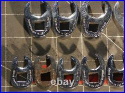 Snap On Tools 10Pc Metric 3/8 Dr Flare Nut Crowfoot Wrench Set 9MM 18MM 6Pt