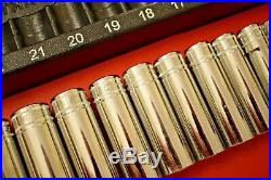 Snap On Tools 13pc 1/2 Drive Deep Chrome Socket Set (34) Excellent Condition