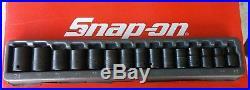 Snap On Tools 1/2 Drive 15 Pc Metric Shallow Impact Socket Set 10-24mm 315IMMYA