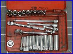 Snap On Tools 27Pc SAE 1/4 Drive General Service Set Socket Ratchet Metal Box Dr