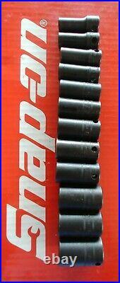 Snap On Tools 3/8 Drive Metric Semi-Deep 6 Pt Impact Socket Set 212IMFMSYA Nice